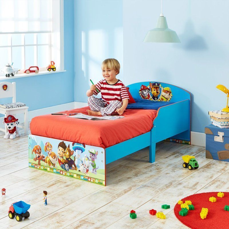 Wooden Toddler Bed Blue Paw Patrol Protective Guards Kids Wood Bedroom Furniture