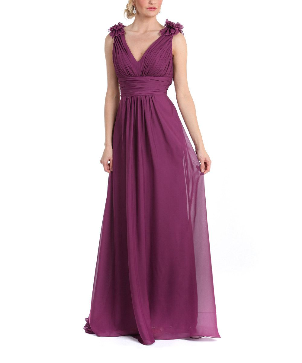Look At This Purple Rosette-Shoulder Gown On #zulily Today