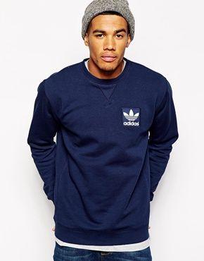 Adidas Originals Logo Crew Sweatshirt (Mens Fitness Clothes