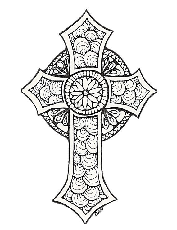 Colouring Fun For All Ages This Digital Coloring Page Printable Features A Decorative Image Its Gr Cross Coloring Page Adult Coloring Pages Coloring Pages