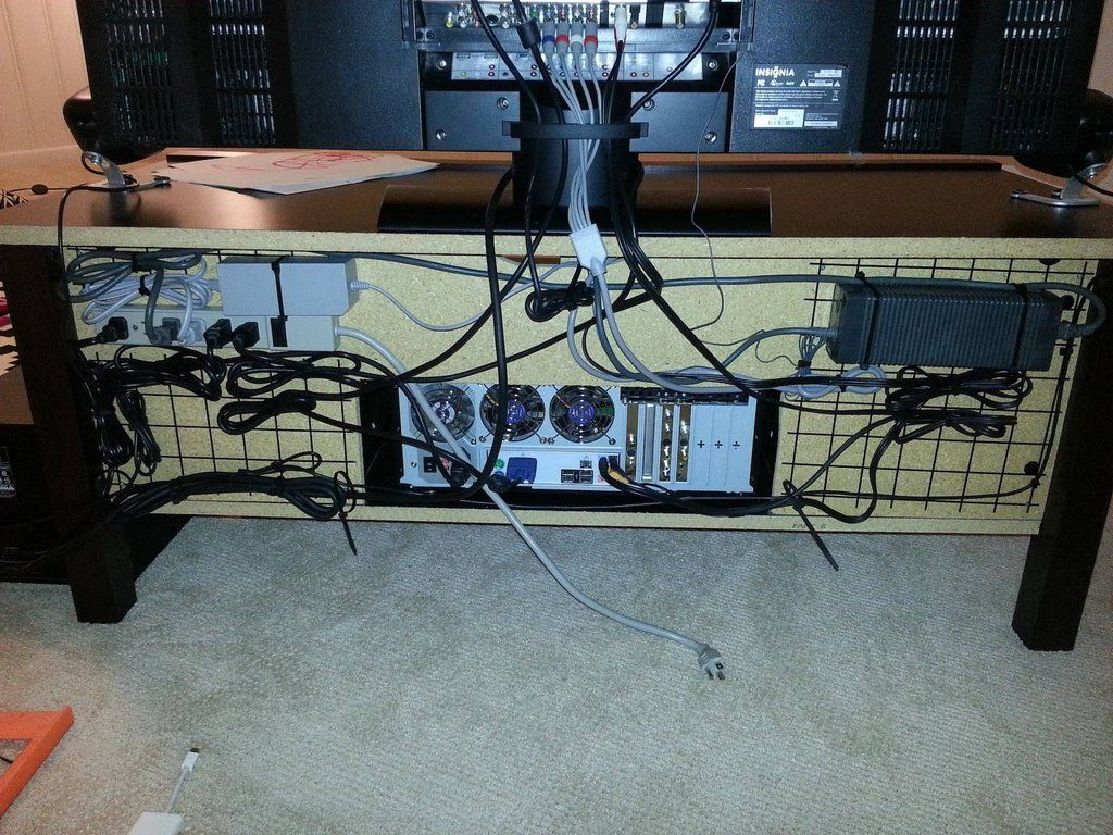Recycled some wire shelves and created a nice cable management ...
