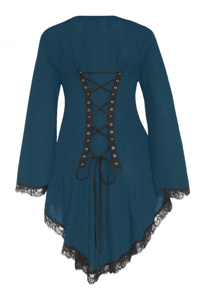 35f9ea3123 Dare To Wear Victorian Gothic Women s Plus Size Embrace Corset Sweater Dark  Teal