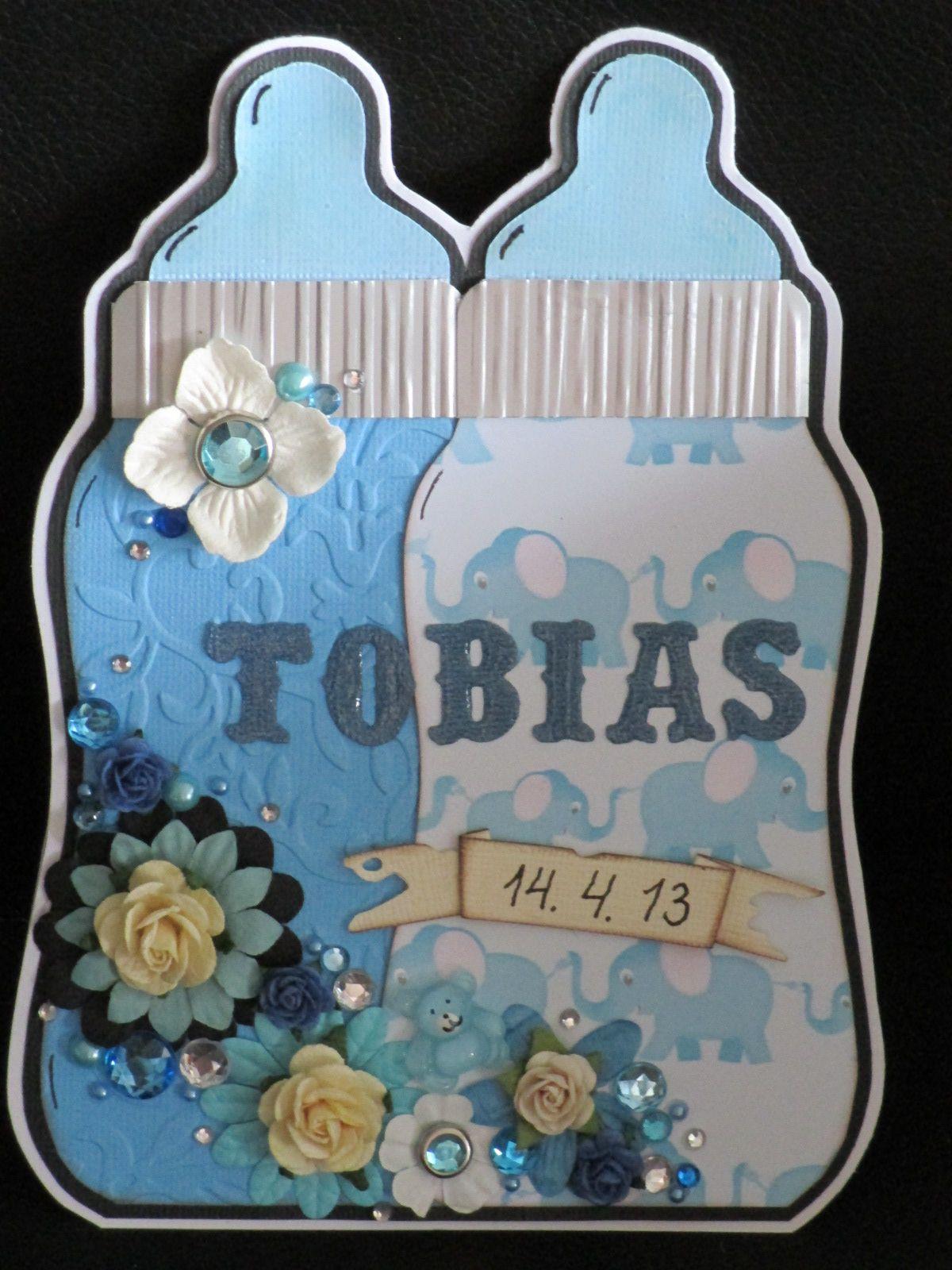 Tobias' dåbskort lavet efter Donna skabelon