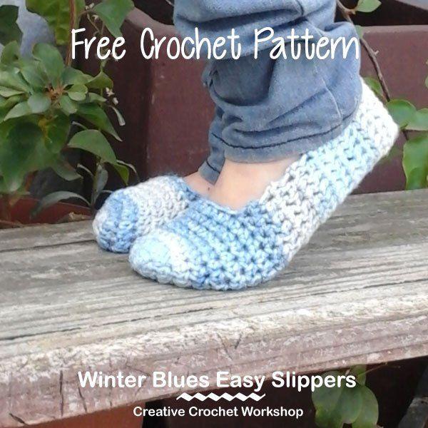 Winter Blues Easy Slippers Free Crochet Pattern Creative Crochet