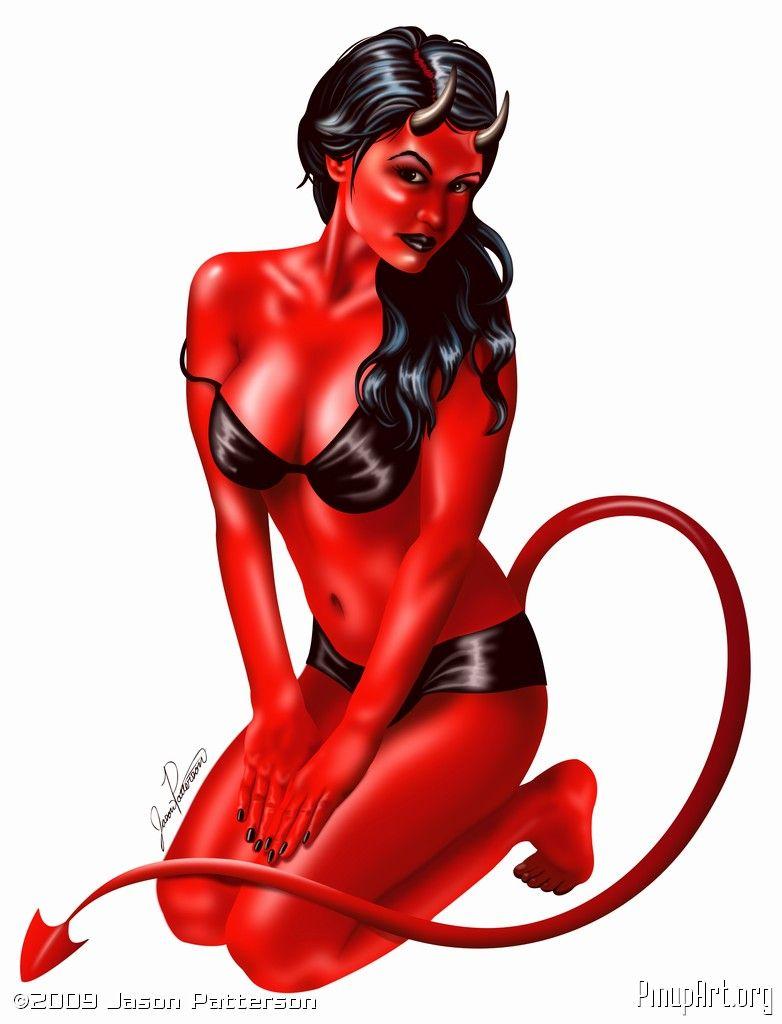 Sexy devil girl vinyl sticker