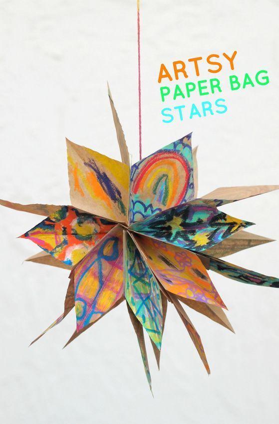 Artsy Paper Bag Stars Paper Bag Crafts Art Activities Art For Kids