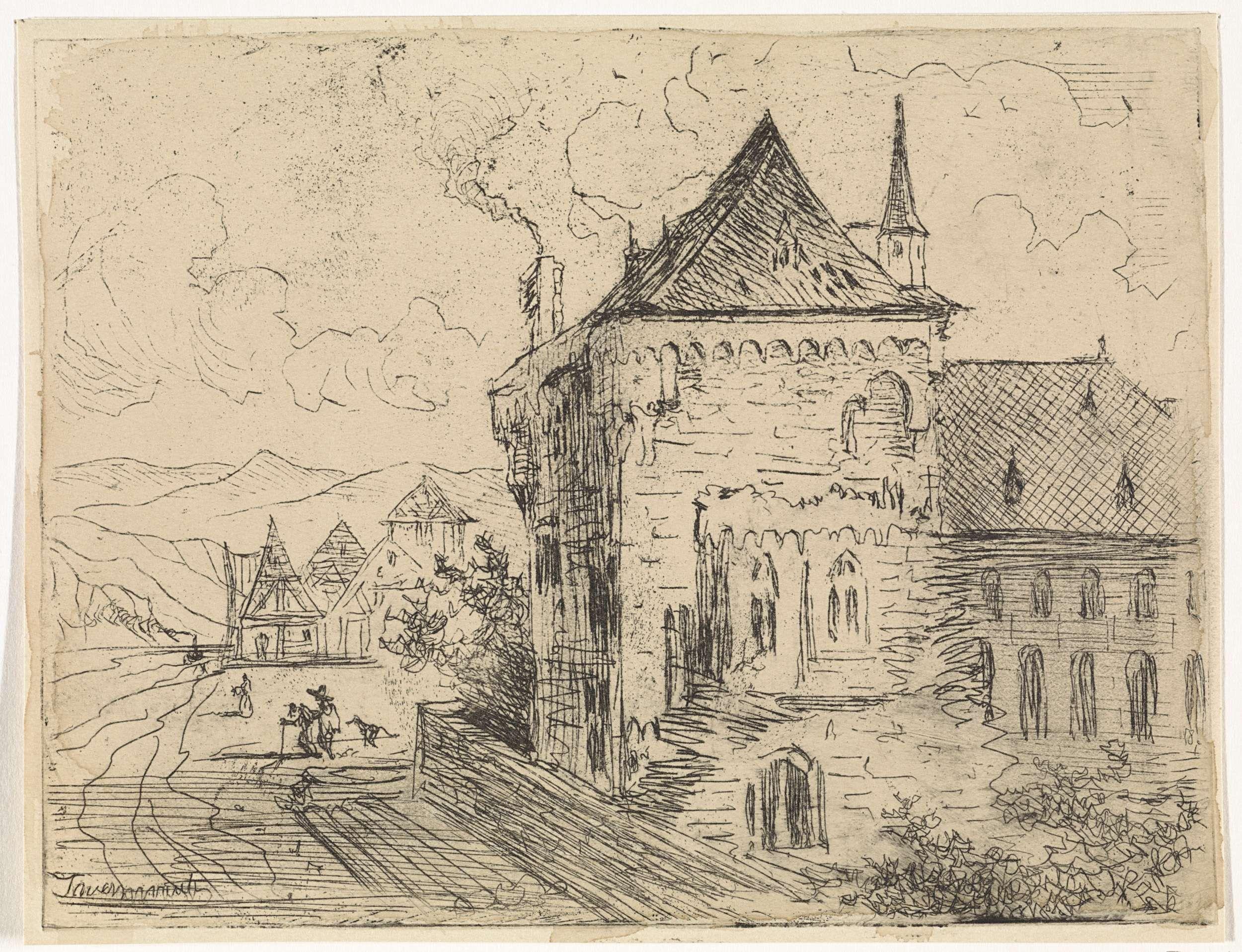 Johannes Tavenraat   Gebouw te Boppard, Johannes Tavenraat, 1819 - 1881   Gebouw te Boppard met links enkele figuren op de weg.