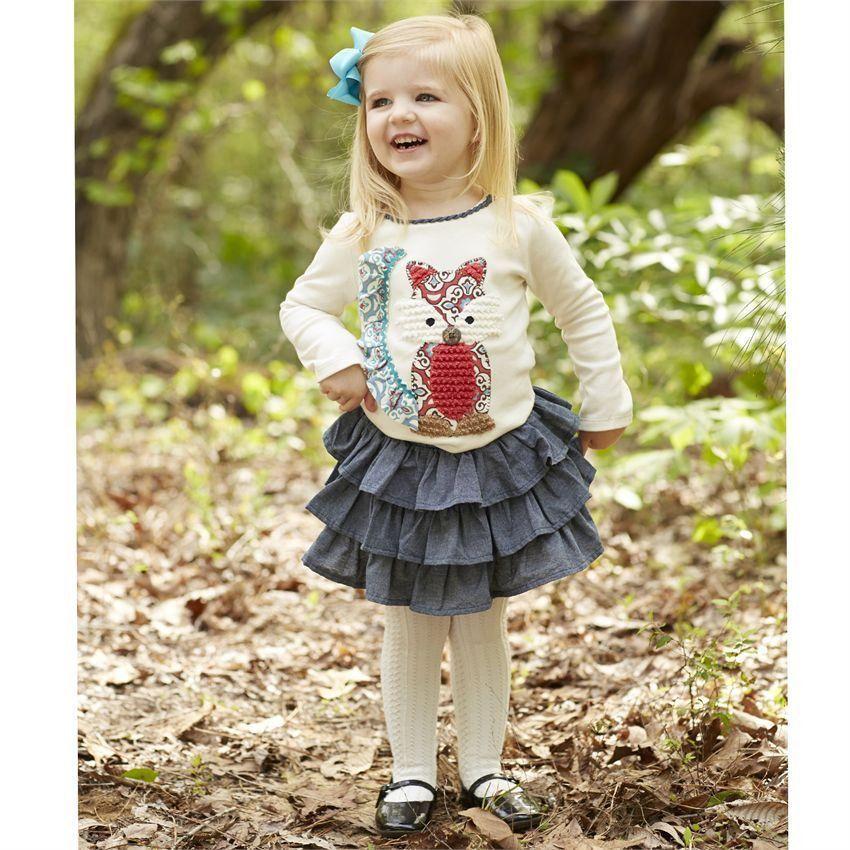 Mud Pie Baby Girls Toddler Chambray Denim Tassel Skirt