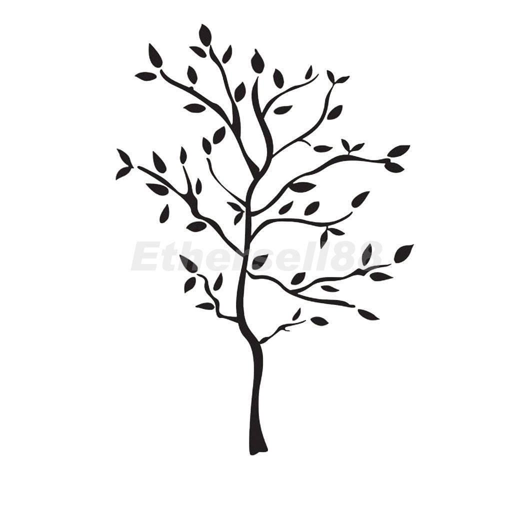 Diy removable black leaves tree wall art stickers decal home decor