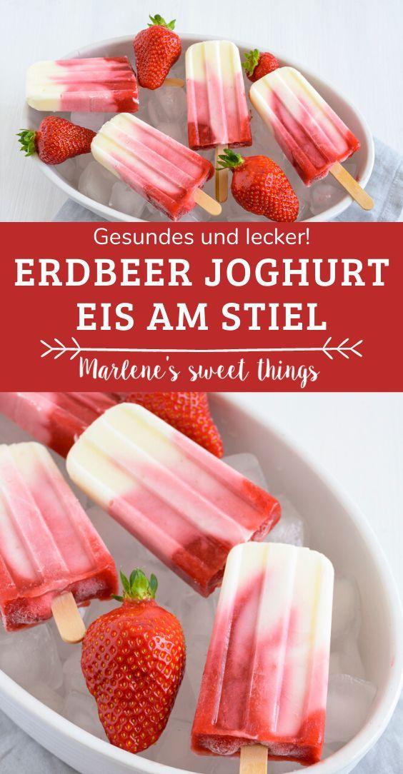 Erdbeer Joghurt Eis am Stiel ohne Zucker - Marlenes sweet