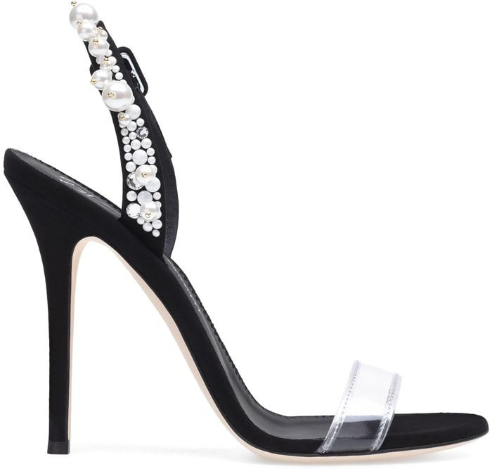 Giuseppe Zanotti Plexi and suede sandal with pearls and crystals ELIZA HnBcTH1cI