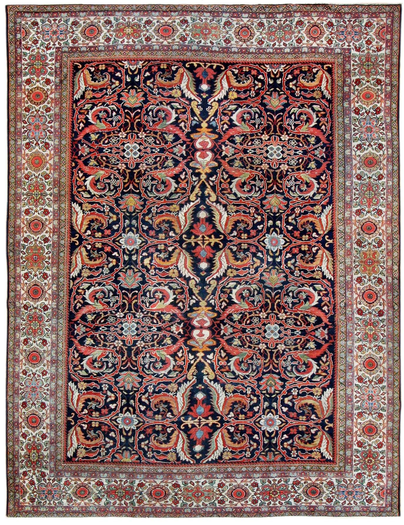 Antique Sultanabad Persian Rugs 1867 Detail Large View By