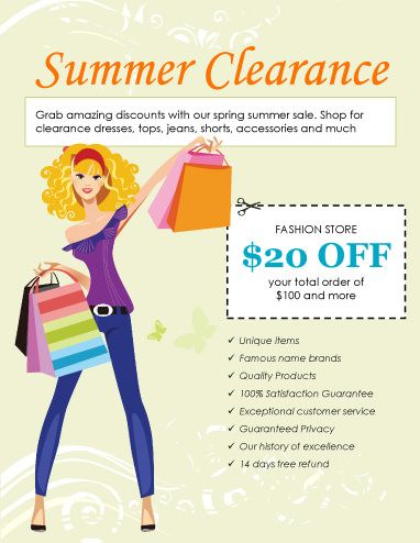 Summer-Clearance-Clothing-Sale Flyers Pinterest Marketing - microsoft word template flyer