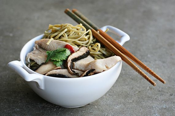 Green Tea Soba Noodle Soup with tilapia, portobellos, and sriracha