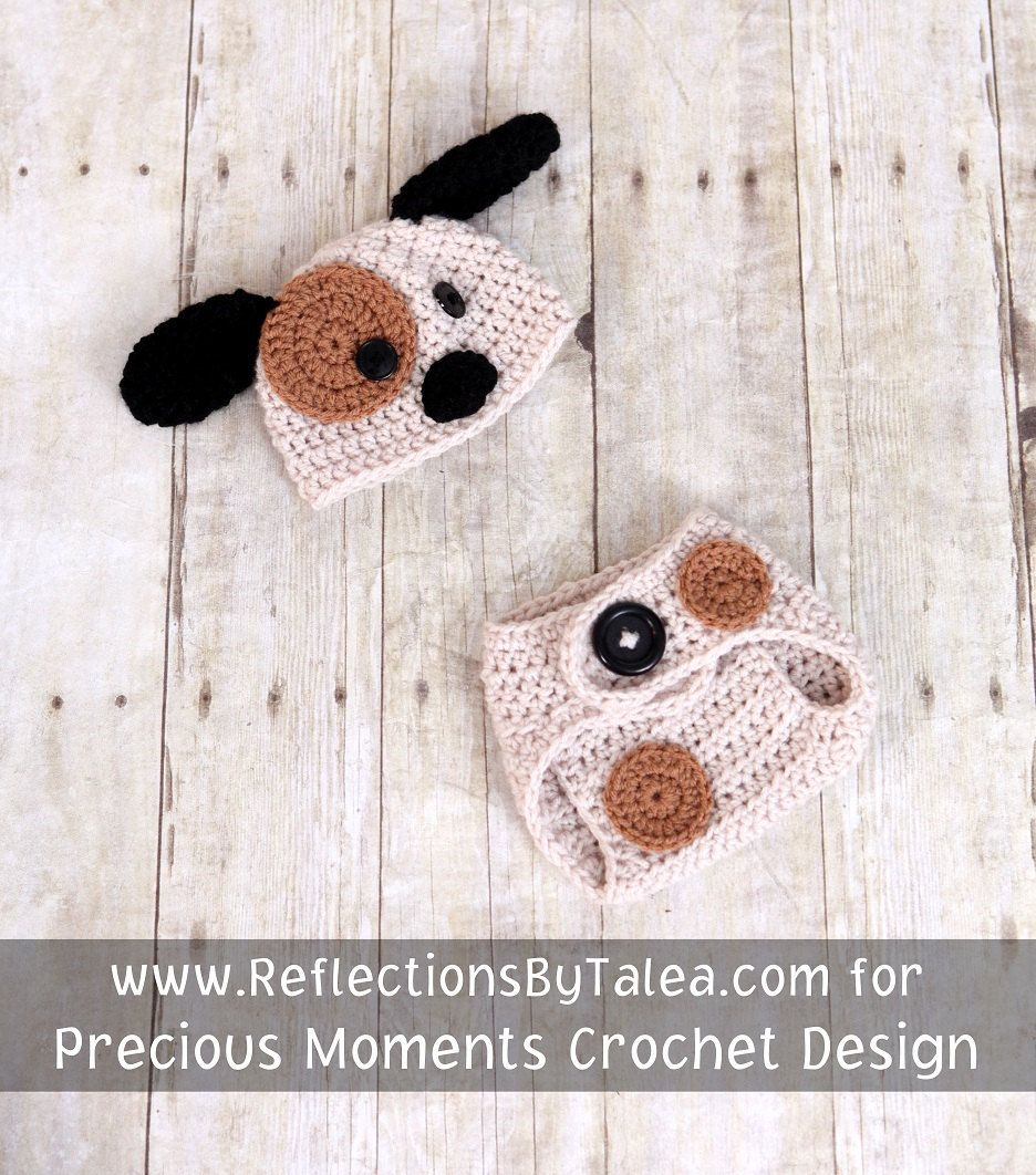 Puppy Newborn Baby Crochet Hat  Diaper Cover  Set 0-3 months PHOTO PROP. $35.00, via Etsy.