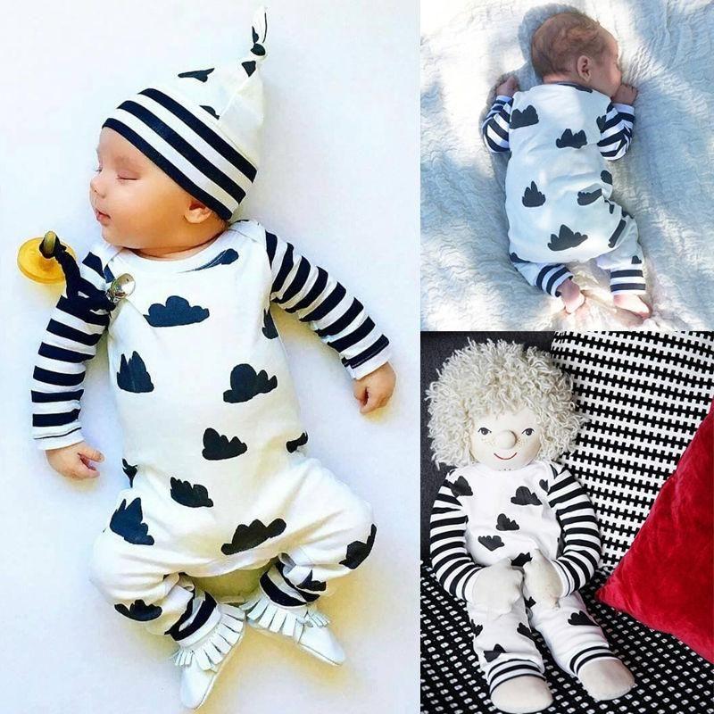 Autumn Baby Cotton Rompers Girls Boy Clothes Stripe  Jumpsuits Bodysuit Clothes