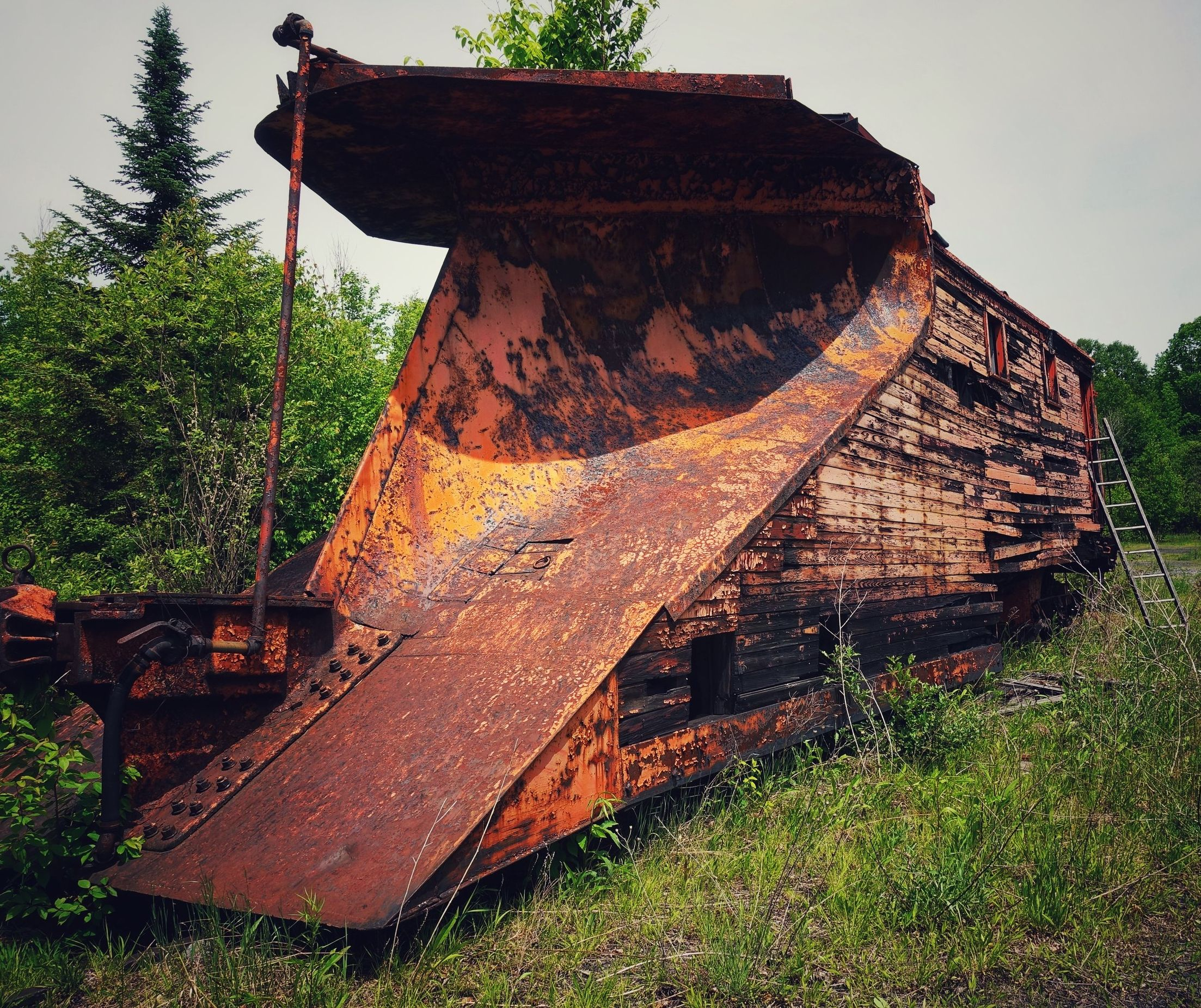 Abandoned Snow Plow Caboose Left In The Woods Of NY