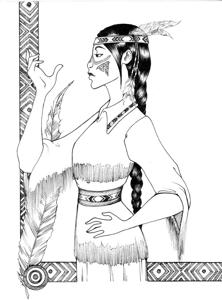 American Indian tribal girl  Princess coloring pages, American