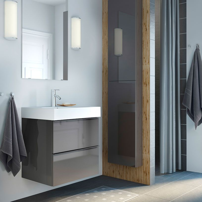 armario para lavabo godmorgon/brÅviken alto brillo gris con dos, Badkamer