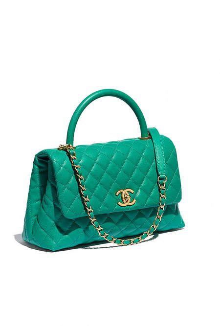 ba3dc5b25301 Flap bag with top handle, calfskin & gold-tone metal-green - CHANEL ...