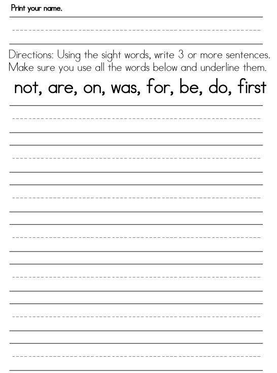 worksheets for 1st graders First Grade Sight Words