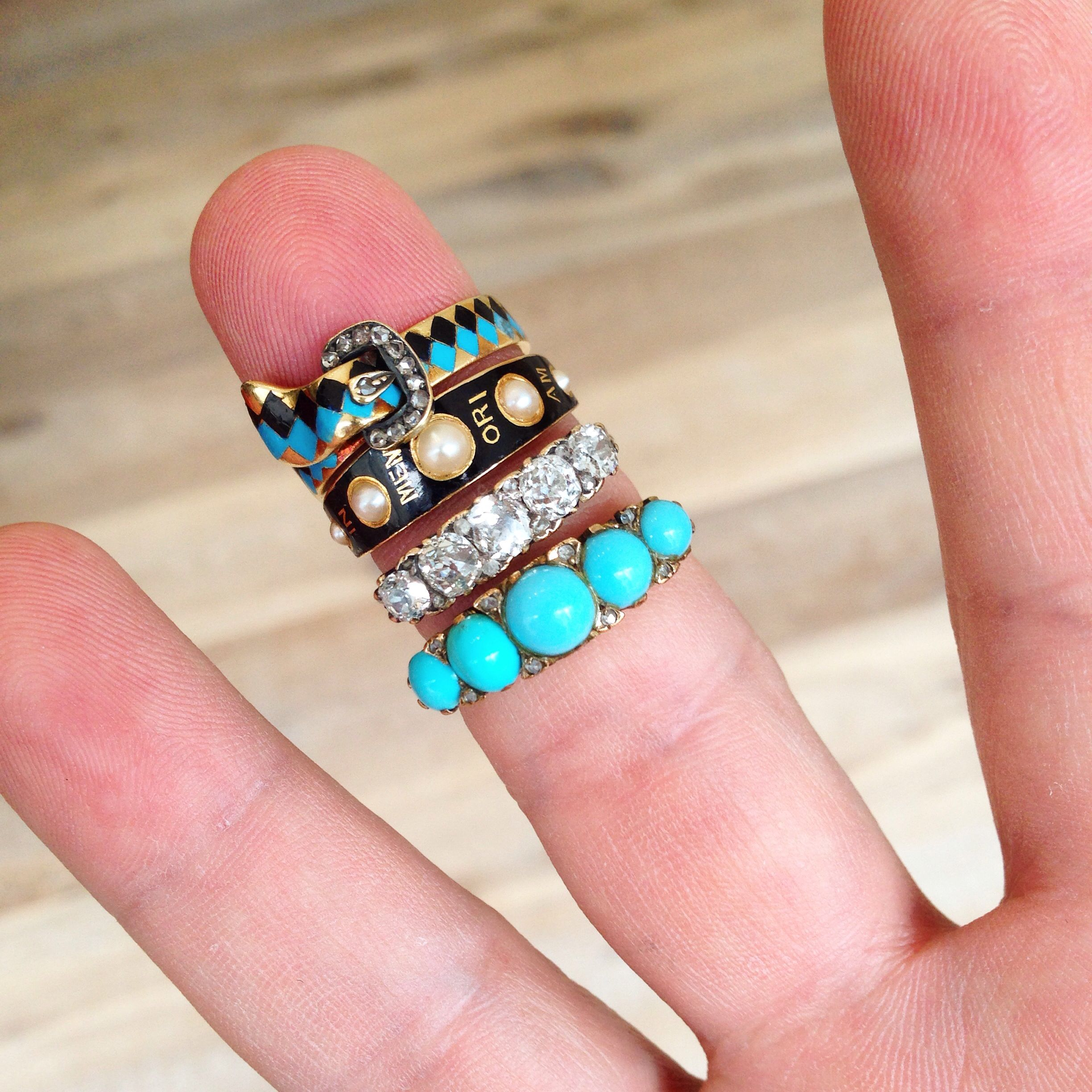 Stack \'em #Victorian style! Vintage rings and engagement rings ...