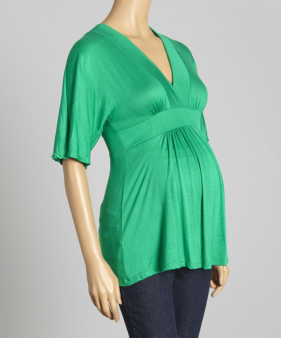 Love this Green Maternity Surplice Top by GLAM on #zulily! #zulilyfinds