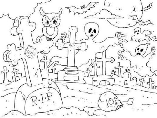 photo about Spooky Halloween Coloring Pages Printable referred to as Spooky Graveyard Halloween Coloring Web pages Totally free halloween