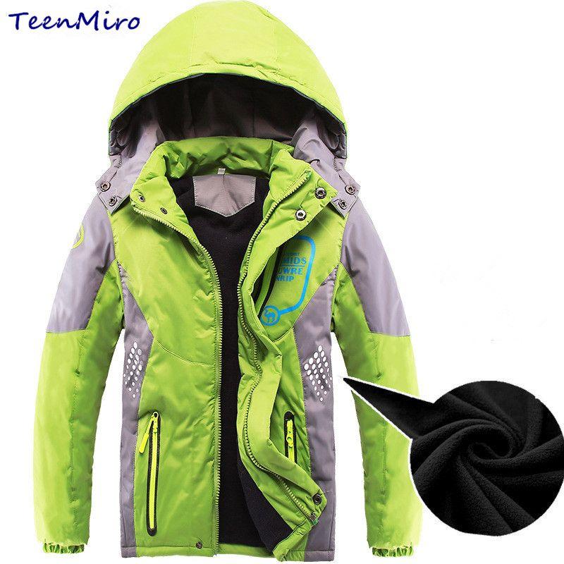 790a1f7e9 Winter Kids Fleece Jackets For Boys Children Outerwear Hooded Thick Coat  4-12Y Boy Warm