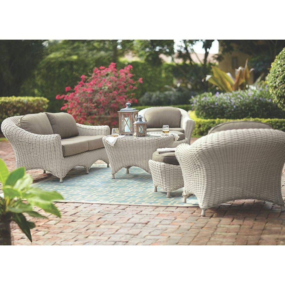 martha stewart living lake adela bone 6piece patio seating set with wheat cushions - Martha Stewart Outdoor Furniture