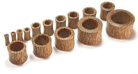 """COCONUT Wood Earlet Hollow Plug Natural Ear Jewelry 8g - 1 1/4"""" - Price Per 1"""