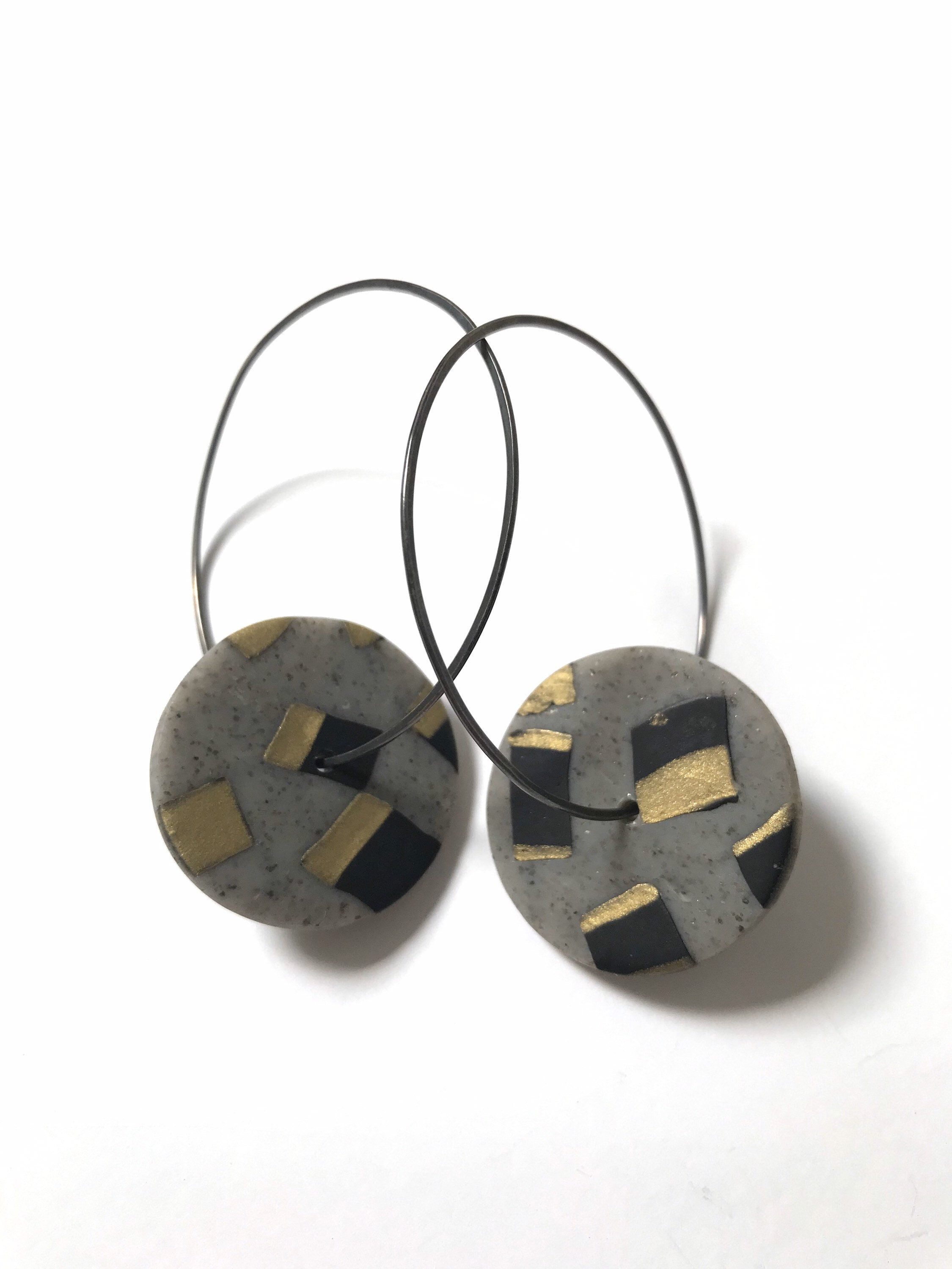 Brooks Collection Round Black and White Studs Handmade Polymer Clay Earrings