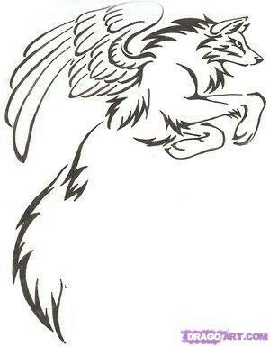 Winged Wolf Back Baby Wolf Wolf Pup Coloring Pages