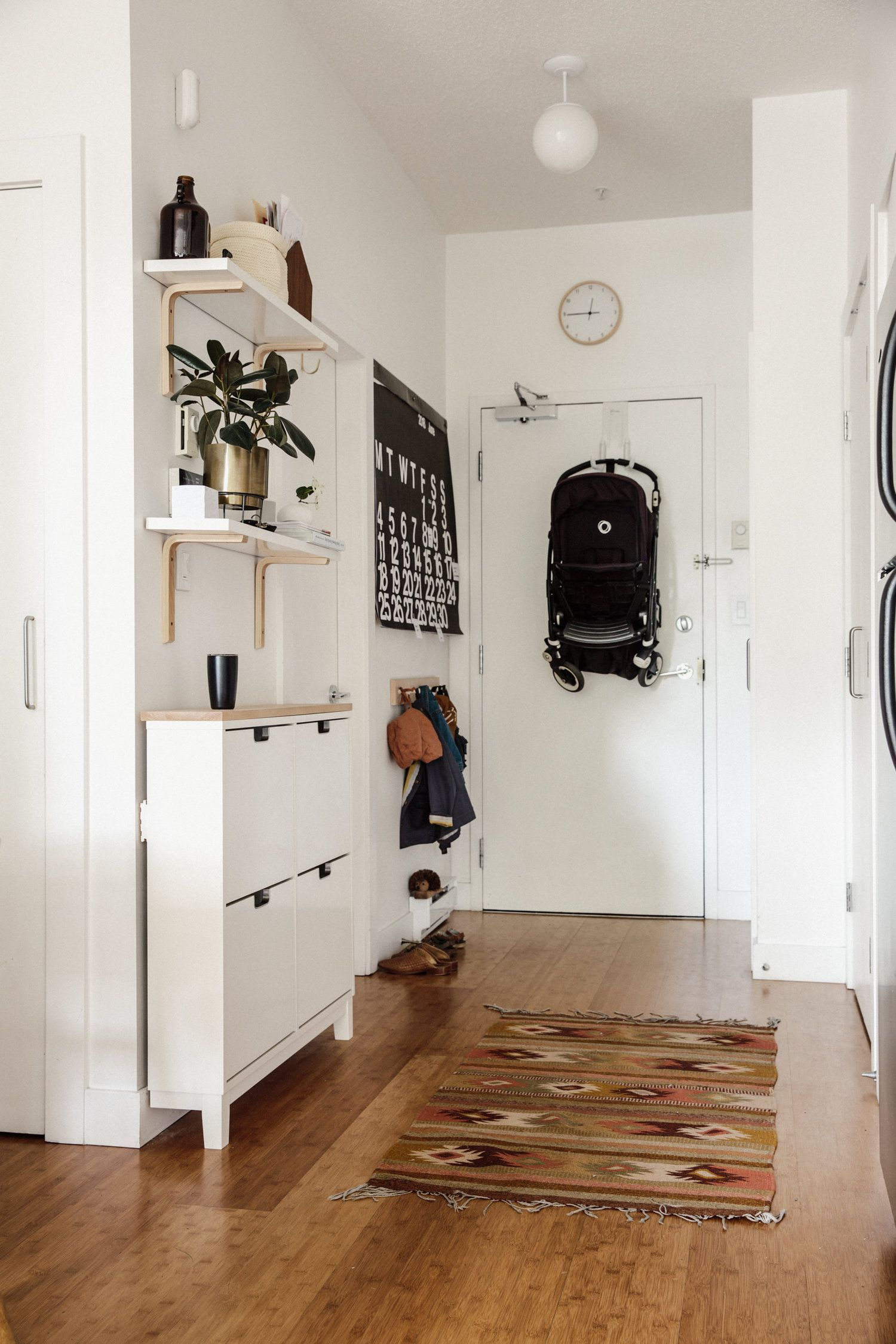 Cup of Jo Featured Our Small Apartment   Hallway Storage Ideas