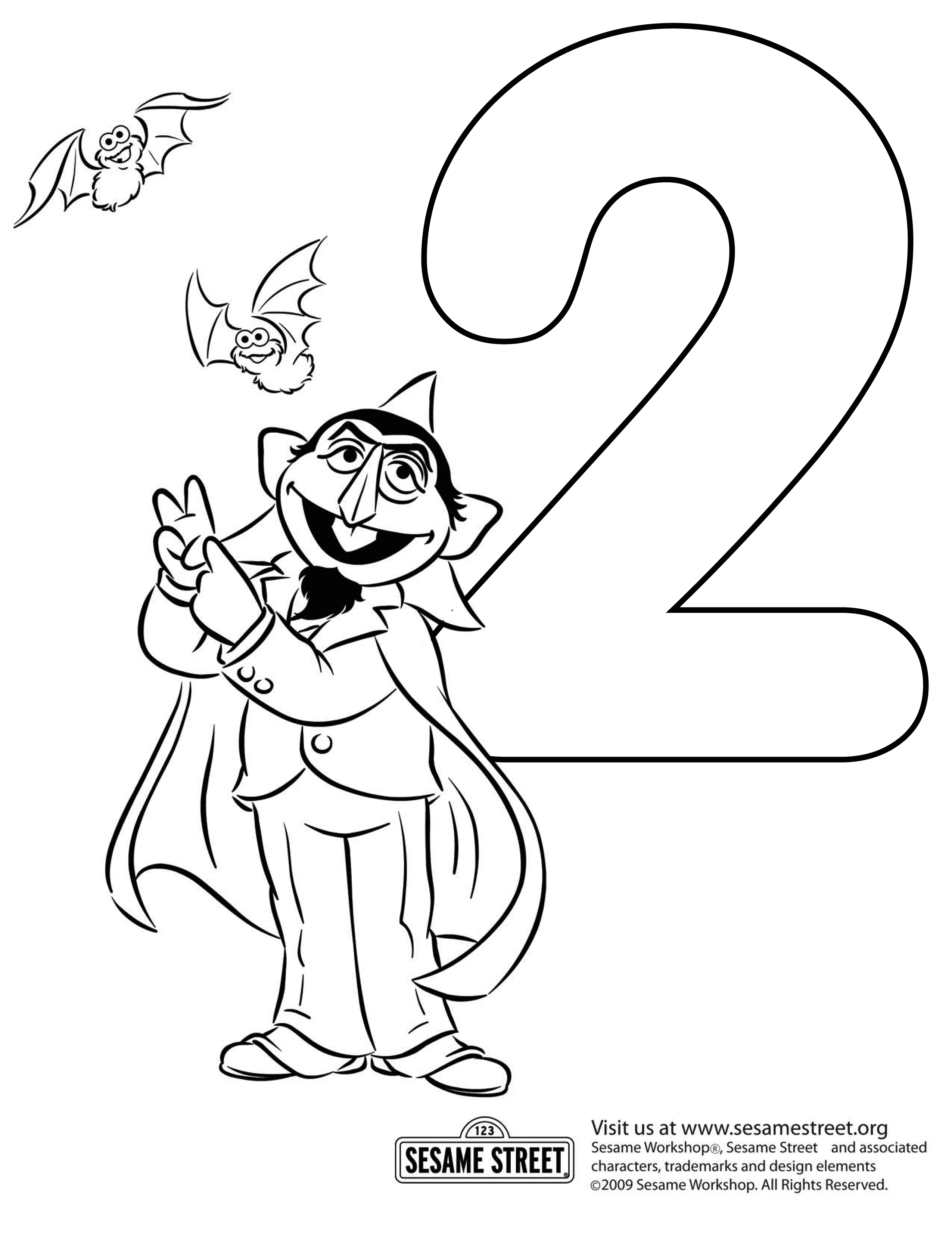 Sesame Street Count Coloring Page