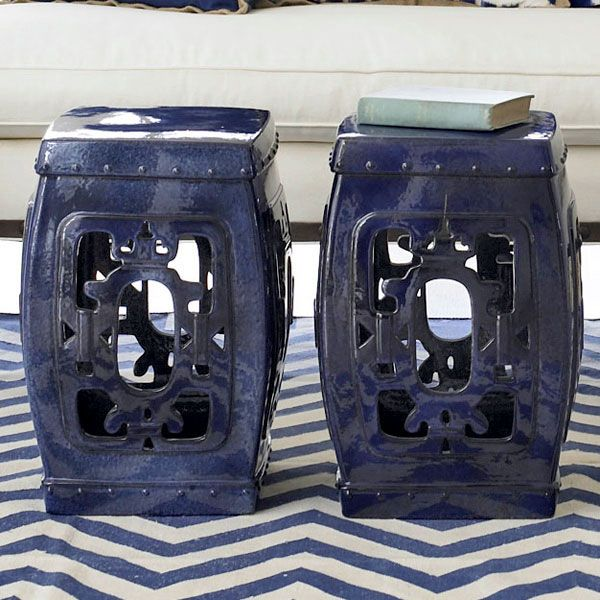 ceramic stool can function as an additional seat, a garden accent, or a place to prop your feet.