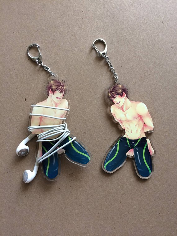 Swimming anime earbud phone cord organizer acrylic charm