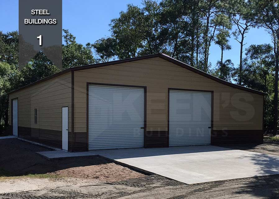 Steel Building Specifications 30x40x12 3 10x10 Doors 1 Walk In Door 1 Standard Window 1 12x40 Enclosed Lea Steel Buildings Building Outdoor Decor