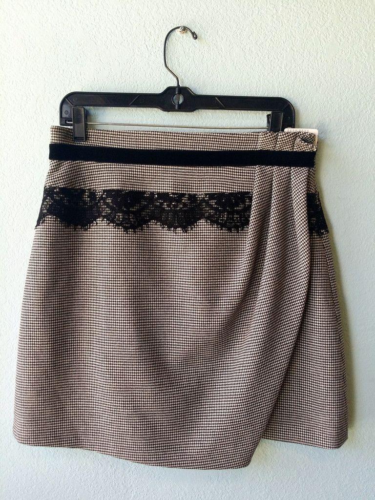 Karen Millen houndtooth and lace skirt 10 #houndstooth #karen-millen #lace #size-10 #skirt