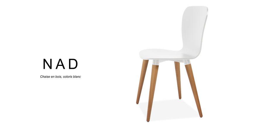 Chaise scandinave blanche avec pied bois NAD Mychaise