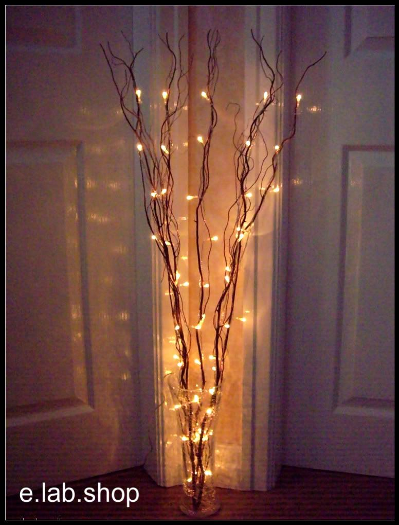 Twig Lights In Tall Vases Filled With Orchids And Peacock