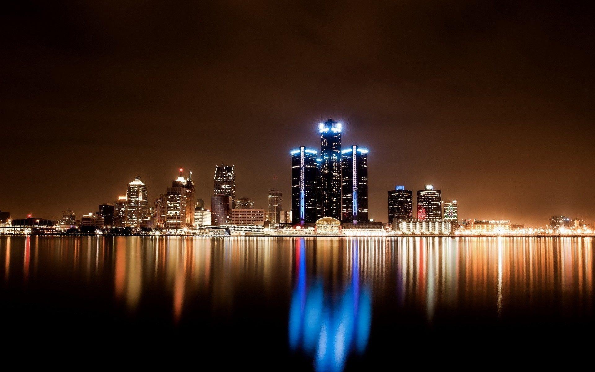 Detroit Skyline At Night City Lights At Night Detroit Wallpaper Night City