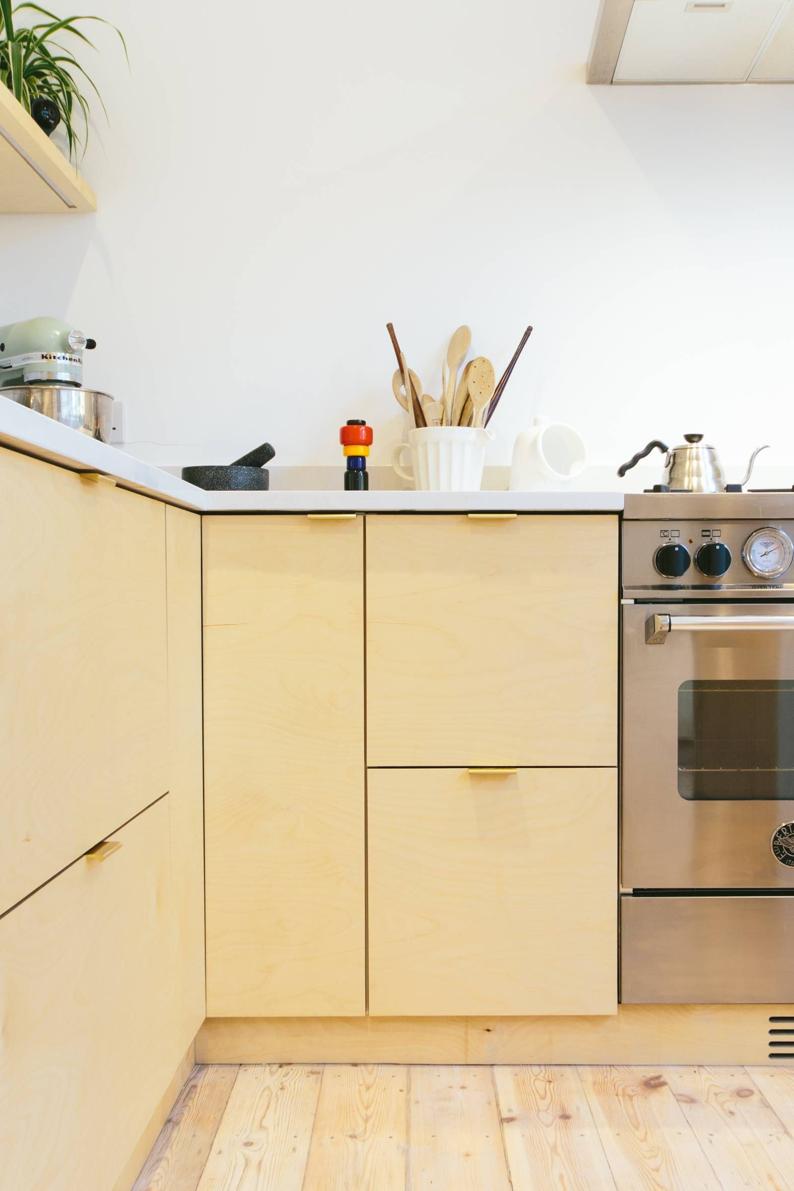 Birch plywood kitchen with brass edge pull handles | House shops ...