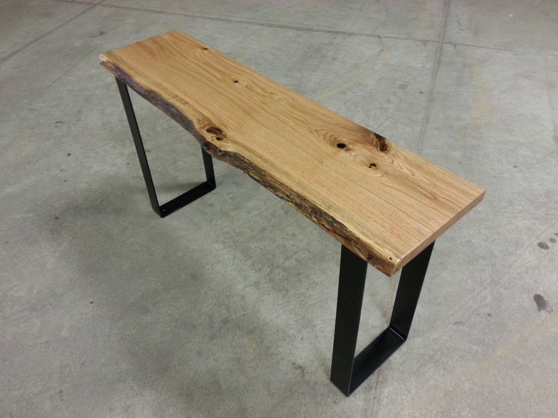 Rustic Modern Console Table Rustic Console Table Oak Table Oak Console Live  Edge Square Legs Steel