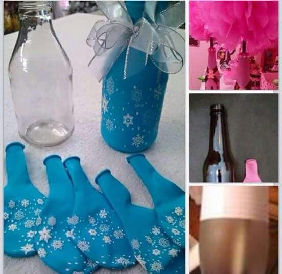 Botellas decoradas con globos | decoracion de botellas ...