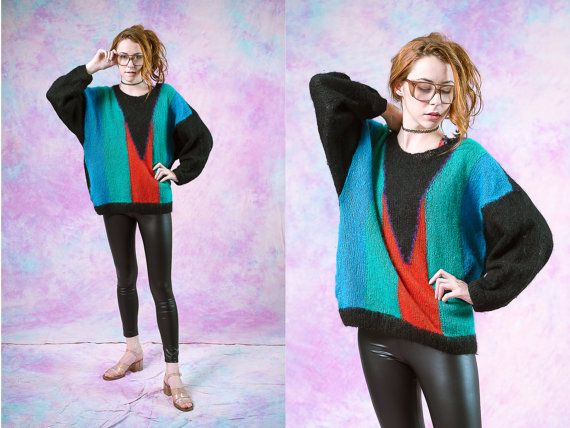 Vtg 90s 80s handmade oversized sweater, womens knit crochet