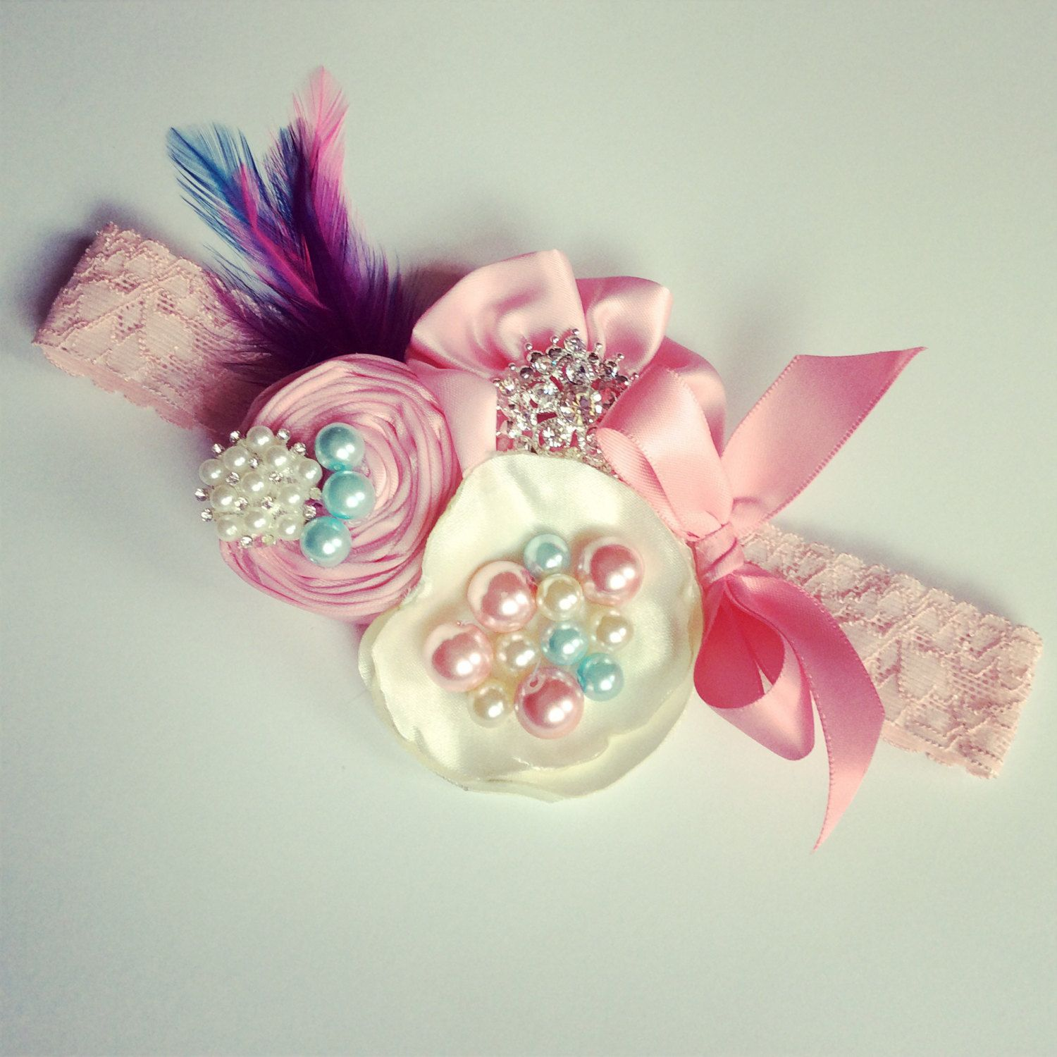 Pink And Turquise Baby And Girls Headband Flower