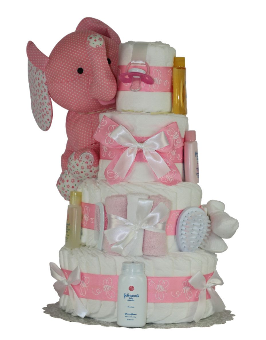 Online Shopping For Pink Elephant Diaper Cake Find Delightful Baby