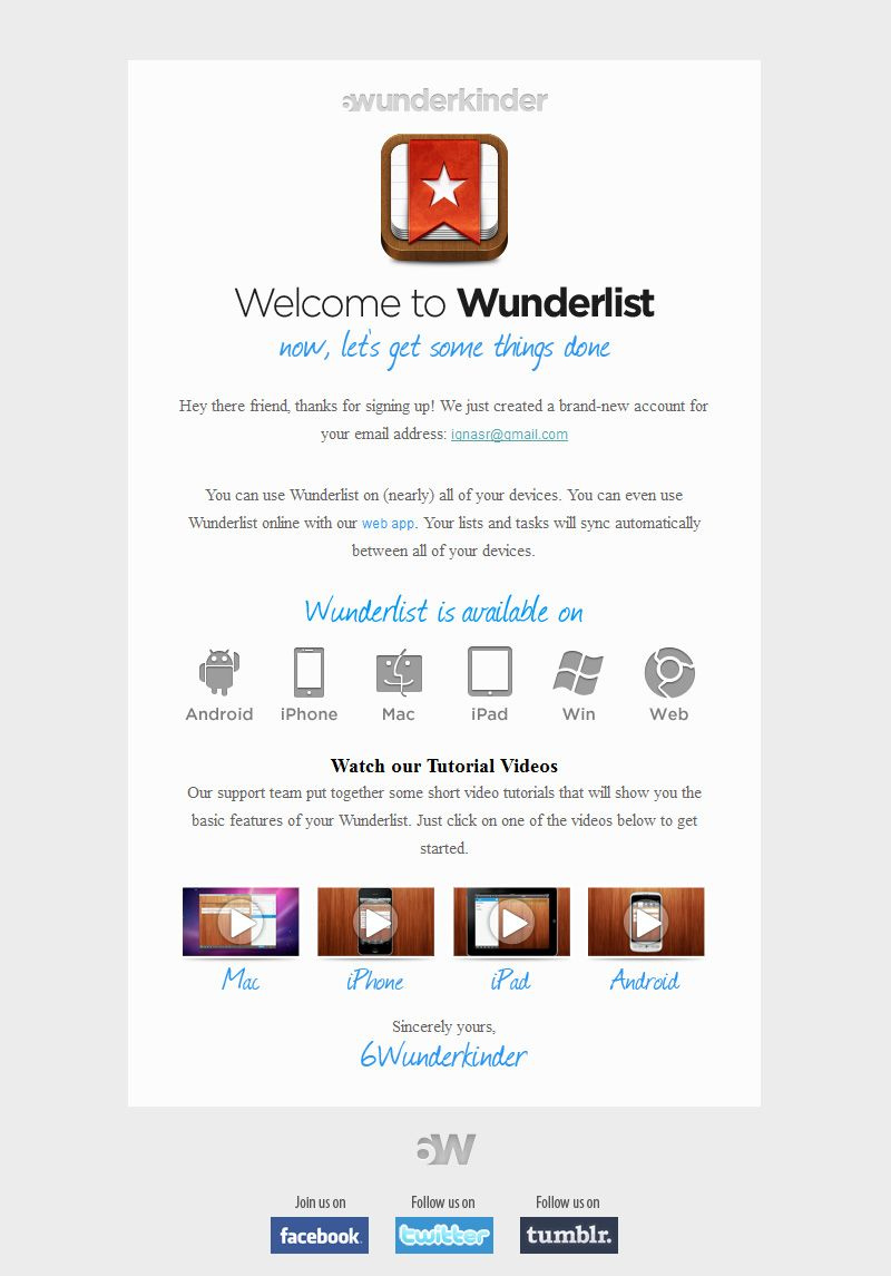 Wunderlist #WelcomeEmail | Autoresponders | Email design, Birthday