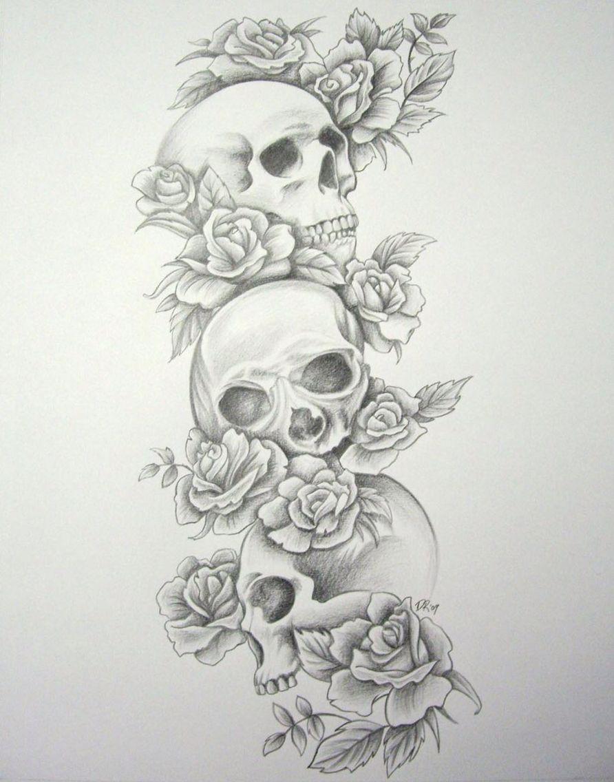 Triple Skulls And Roses Skull Sleeve Tattoos Cowboy Tattoos Tattoo Sleeve Designs